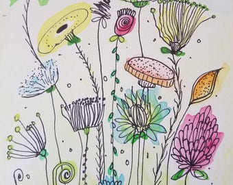 Original Watercolor Painting, Watercolor and Ink Painting, Watercolor Flowers, Watercolor Paint, Watercolor Painting