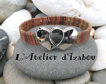 Bracelet amour daim multicolore chaleureux fermoir double coeurs