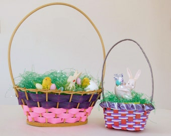 1960s Easter Baskets, Vintage Easter Decor, Made in Japan, Woven Plastic Ribbon, Pink Purple
