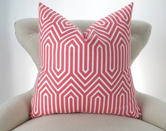 Coral Throw Pillow Cover, Geometric Pattern, Accent Pillow, Decorative Throw, Cushion Cover -MANY SIZES- Trail Coral White, Premier Prints