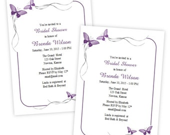 Bridal Shower Invitation - Purple Butterflies & Silver Ribbons - DIY Printable Template - Instant Download - Microsoft Word Format