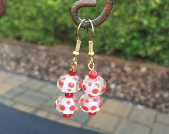 Fun Red Polka Dot Earrings