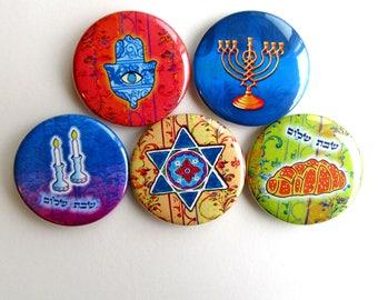Jewish Gifts, Jewish Symbols, Jewish Art, Judaica Art, Judaica Gifts, Fridge Magnets, Shabbat Shalom, Challah, Shabbat Candlesticks, Chamsa