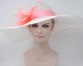 Church Kentucky Derby Carriage Tea Party Wedding Wide Brim Sinamayw Feahters Hat  White with Pink