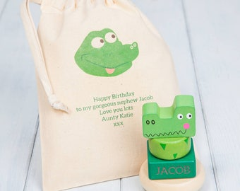 Personalised Crocodile Stacking Rings Toy