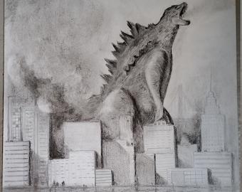 Godzilla pencil drawing, art, fantasy, sci-fi, frame