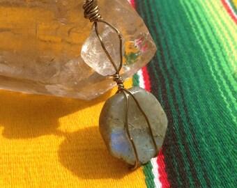 Labradorite and Smoky Quartz wrap with Turquoise beads