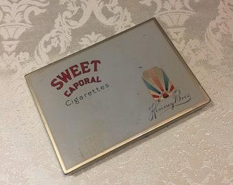 Cigarette Tin, Cigarette Box, Vintage Sweet Caporal Cigarette Box, Man Cave Decor