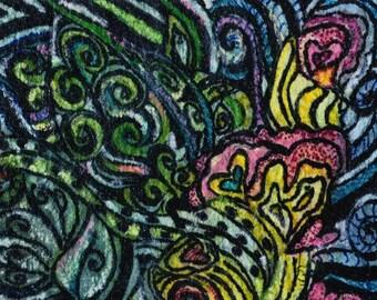 Artist Trading Card of Zen Tangle Abstract, Artist trading card, mini painting, abstract painting comes  mini black easel