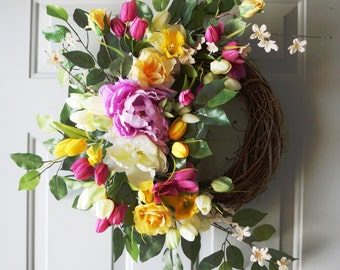 Spring Wreath, Peonies Daffodils Tulips Wreath, Fuchsia Yellow White Wreath