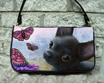 Clutch or Sling Bag Purse Dog 91 Black Chihuahua Butterfly art painting L.Dumas