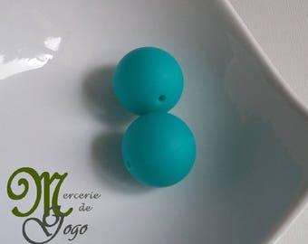 Round silicone bead. Turquoise 2 cm diameter.