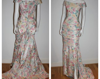 80s PRINCESS Diana Designer MURRAY ARBEID Fairytale Royal Wedding Dress Watercolor Floral Silk Blend Deadstock Unworn w Tag Nos Bride Xs/S