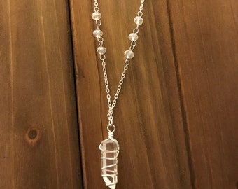 Brazilian Quartz Three Clear Bead Necklace