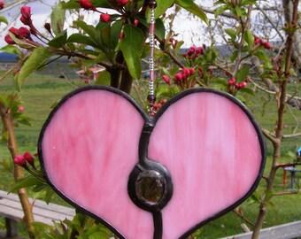 Stained Glass Heart Suncatcher - verre Pretty Pink Purple Gem et chapelet perles - artisanaux cadeau