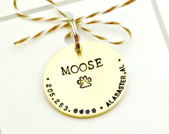 Pet ID Dog Tags - Custom Dog Tag - Personalized Hand Stamped Identification Name Tag for Collar - Brass Disc - Name & Phone Number if Lost