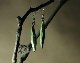 Wooden Earrings, Stabilized Wood Earrings, Green Earrings