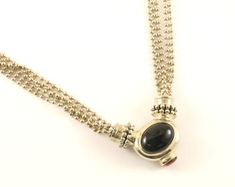 Vintage Joseph Esposito Black Onyx Necklace 925 Sterling NC 1500