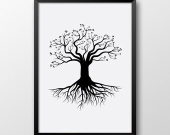 Tree with Roots print, Printable tree wall art, Black and White decor, Scandinavian art 147