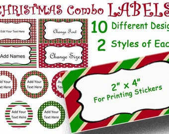 Christmas Labels, Editable Text, 10 Square gift tags, 10 Round tags, Matching tags set, Holiday Party Tags, Gift Tags, Christmas Name Tags