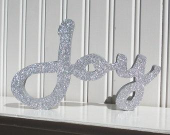 Silver Glitter Joy Letter Sign, Christmas Decoration, Mantle Decoration, Holiday Decoration, Wood Joy Sign