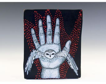 Wall Hanging Original Painting on a Ceramic Tile by Jenny Mendes - An Owl In Hand