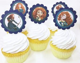 "Brave Merida Scottish Princesses | CupCake Toppers, cupcake picks, food picks, 4"" Lollipop Stick Set of 12"