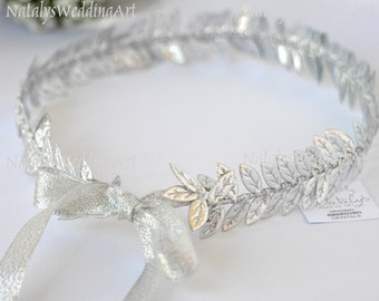 Silver leaf Headband Wedding Bridal Greek Crown / Grecian Headpiece / Greek Headband / Wedding Crown