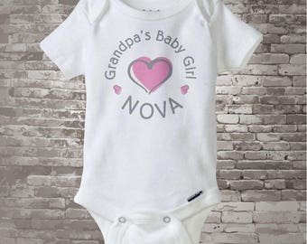 Grandpa's Baby Girl White Cotton Onesie Bodysuit or T-shirt with Pink hearts and Gray Wording 06102013b