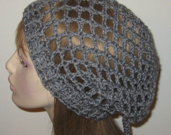 Heather Grey Mesh Slouchy Beanie Snood Dread Hat
