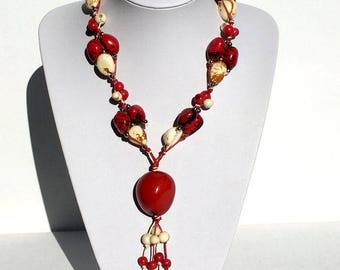 Statement Chunky Beaded Necklace; Handmade Necklace