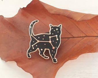 Celestial cat pin -  Felis constellation pin - cat enamel pin - luxury enamel pin - zodiac pin - constellation pin - starry night enamel pin