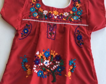 Cherry red Mexican embroidered dress size 1/baby girl dress/ hand embroidered dress