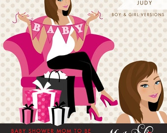 Brunette Pregnant Woman Character with gift boxes and BABY bunting banner. Baby Shower Character. avatars for personal or commercial use