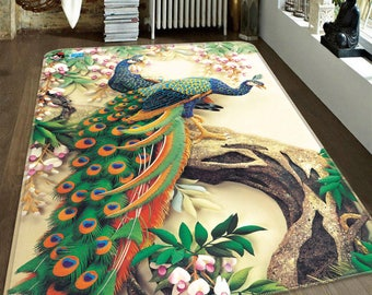3D Peacock Couple 149 Non-Slip Rug Mat Room Mat Quality Elegant Photo Carpet bathroom office home quality living room