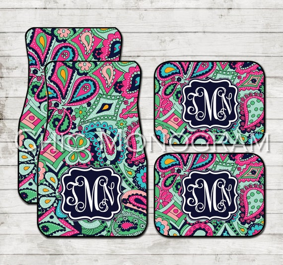 Birthday Gifts for Girls Monogram Car Floor Mats Lilly Inspired Personalized Car Mats Custom Cute Car Accessories Crown Jewel Paisley