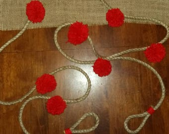 Christmas Red PomPom and rope  Garland Decoration Handmade 2.8m long