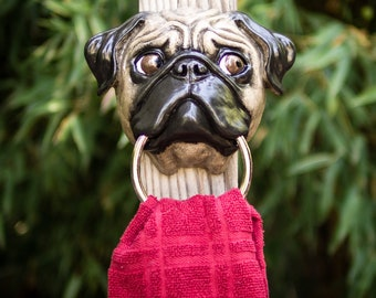 Fawn Pug Towel Holder Looking Right
