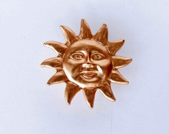 Medium Sun Face Button, Collectible Button, Goldtone, Jewelry Making, Book Decoration, Embellishment, NBS Medium, Shank Button, Craft Supply