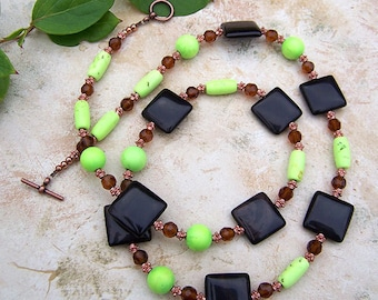 Green Apple Turquoise and Agate Necklace, Handmade Single Strand Beaded Turquoise Gemstone Jewelry, Holiday Jewelry, Fall Fashion