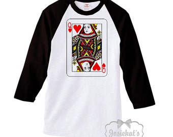 "Valentine Womens Shirt - Adult Valentine Shirt - ""Queen of Hearts"" Shirt - Baseball Black - Retro Valentine Shirt - XS S M L Xl 2XL 3XL"