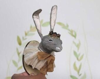 Nostalgische Wattefigur Miniatur Trophäe Hase Wanddekoration Weihnachten