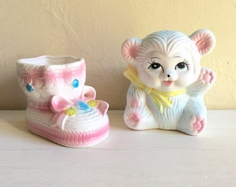 Very Cute Vintage Baby Vases Pink and Blue Pastel Bootie and Teddy Bear Nursery Decor New Baby Gift idea