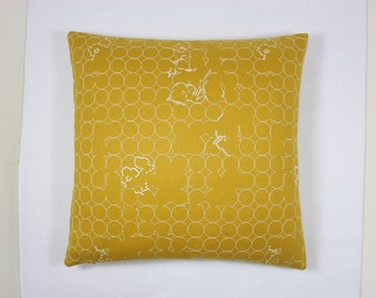 """Maharam fabric Layers Vineyard by Hella Jongerius - Color Ochre / white - 17"""" x 17"""" modern pillow with feather insert."""