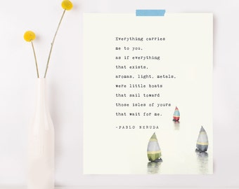 """Pablo Neruda poem """"If you forget me.."""", poetry art, love poem, gift for significant other, quote poster"""