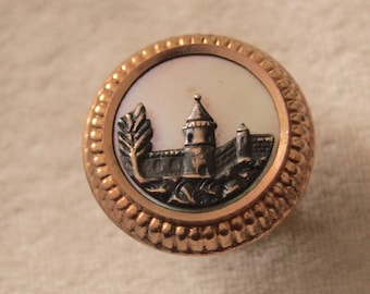Victorian Bachelor Button With MOP and Castle Scene