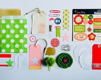 Happy Holidays, Christmas Embellishments, Green Pom Pom Kit, Merry Christmas, Stars, Crochet, Gift Wrap, Scrapbooking, Camera Paper Clip