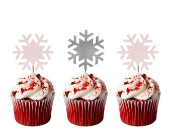 Christmas Snowflake Cupcake Toppers - Glittery White and Silver - Pack of 8