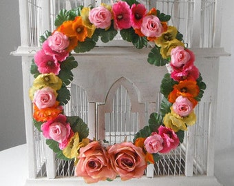 wedding wreath bohemian wreath boho decor rose wreath floral door decor silk flowers bright pink bright yellow bright orange colorful