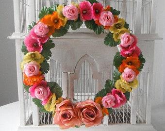 wedding wreath bohemian wreath boho decor rose wreath floral door decor silk flowers bright pink bright yellow bright orange colorful